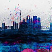 Tokyo Watercolor Skyline 2 Art Print