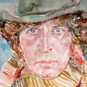 Tom Baker Doctor Who Watercolor Portrait Art Print