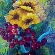 Too Delicate For Words - Yellow Flowers And Red Grapes Art Print