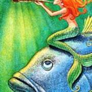 Toot Your Own Seashell Mermaid Art Print