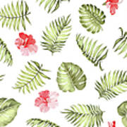 Topical Palm Leaves Pattern Art Print