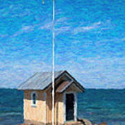 Torekov Beach Hut Painting Art Print