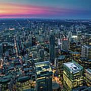 Toronto Downtown City At Night Art Print