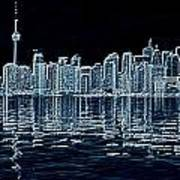 Toronto Skyline In Blue Art Print