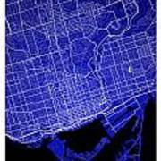 Toronto Street Map - Toronto Canada Road Map Art On Colored Back Art Print
