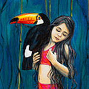 Toucan Girl Art Print