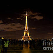 Tour Eiffel At Night With Reflection.  Art Print