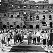 Tour Guide Explains To Group Of British Tourists About Gladiator Pits On The Floor Of The Arena Of The Old Roman Colloseum At El Jem Tunisia Vertical Art Print