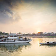 Tourist Boat On Sunset Cruise In Phnom Penh Cambodia River Art Print