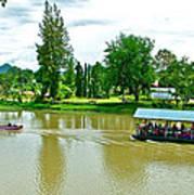 Tourist Raft Being Towed On River Kwai In Kanchanaburi-thailand Art Print