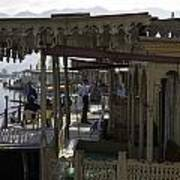 Tourists At The Front Section Of Houseboats Lined Up Along Dal Lake Art Print
