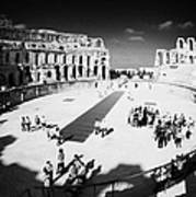 Tourists On The Arena Floor Of The Old Roman Colloseum At El Jem Tunisia Vertical Art Print