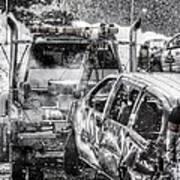 Tow Truck Towing Demolition Car Art Print