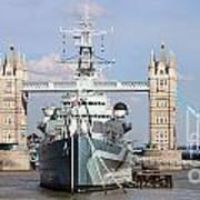 Tower Bridge And Battleship 5863 Art Print