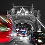 Tower Bridge And Traffic Color Mix Art Print