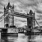 Tower Bridge In London Uk Black And White Art Print