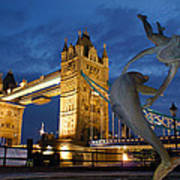 Tower Bridge The Dolphin And The Girl Art Print