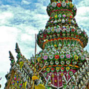 Tower Closeup Of Buddhist Temple At Grand Palace Of Thailand  Art Print