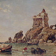 Tower Of Erchia, Gulf Of Salerno, 1849 Oil On Canvas Art Print