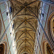 Towering Art - The Painted Ceiling Above The Nave Of Uppsala Cathedral - Sweden Art Print