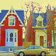 Town Houses In Winter Suburban Side Street South West Montreal City Scene Pointe St Charles Cspandau Art Print