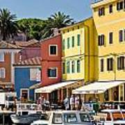 Town Of Veli Losinj Colorful Waterfront Art Print