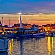 Town Of Vodice Harbor And Monument Art Print