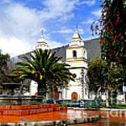 Town Square In Penipe Ecudor Art Print by Al Bourassa