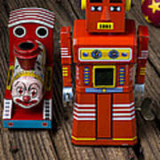 Toy Robot And Train Art Print