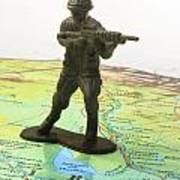 Toy Solider On Iraq Map Art Print