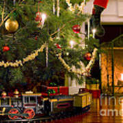 Toy Train Under The Christmas Tree Art Print by Diane Diederich