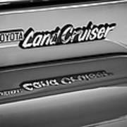 Toyota Land Cruiser Emblem -0581bw Art Print