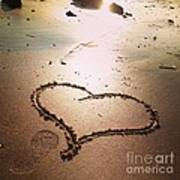 Tracks Of Love In The Sand Art Print