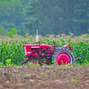 Tractor In A Corn Field Art Print