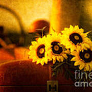 Tractors And Sunflowers Art Print