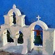 Traditional Belfry In Oia Town Art Print
