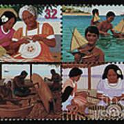 Traditional Pacific Handicrafts Postage Stamp Print Art Print