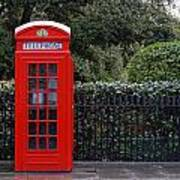 Traditional Red Telephone Box In London Art Print