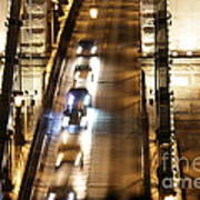 Traffic- Chain Bridge Budapest At Night Art Print