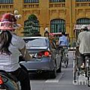 Traffic In Downtown Hanoi Art Print by Sami Sarkis