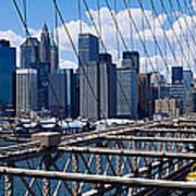 Traffic On A Bridge, Brooklyn Bridge Art Print