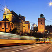 Traffic On The Solidarity Avenue In Warsaw Art Print