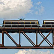 Train Cars On The Bridge Art Print