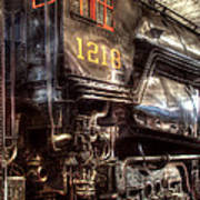 Train - Engine - 1218 - Norfolk Western - Class A - 1218 Art Print by Mike Savad