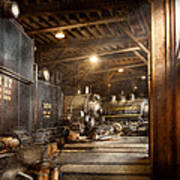 Train - Ready In The Roundhouse Art Print by Mike Savad