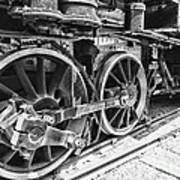 Train - Steam Engine Wheels - Black And White Art Print