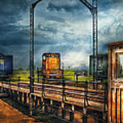 Train - Yard - On The Turntable Art Print by Mike Savad