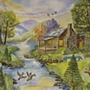 Tranquil Log Cabin Art Print