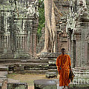 Tranquility In Angkor Wat Cambodia Print by Bob Christopher
