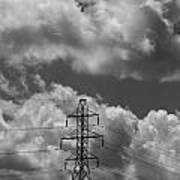 Transmission Tower In Storm Art Print